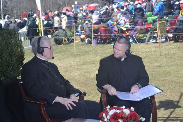 Bishop Scharfenberger is interviewed by Father Chris Alar, MIC, on EWTN's live broadcast from the shrine.